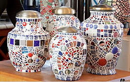Image of pique assiette jars by Sybil Sage